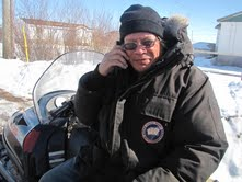 Raymond Wheesk of Attawapiskat First Nation tries out new cell phone service
